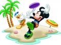 Стикер Мики Маус и Доналд на плажа