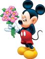 Стикер Мики Маус - Мики подарява цветя