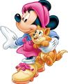 Стикер Мики Маус - Мини Маус с котенце