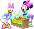 Стикер Мики Маус - Мини и Дейзи на щанда за лимонада