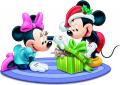 Стикер Мики Маус - Мики и Мини на Коледа