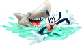 Стикер Мики Маус - Гуфи - плувец в опасност