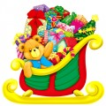 Коледа - коледна играчка-шейна  с подаръци