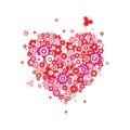 Декоративен стикер - Сърце от цветя