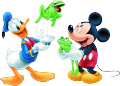 Стикер Мики Маус и Доналд на плажа - жабки